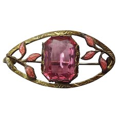 Edwardian 1910s Ladies Pink Bodice Pin, Enamel Accents