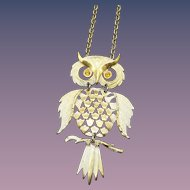 1960s Articulated Owl Pendant Necklace, Funky Vintage