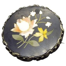 1940s Italian Pietra Dura Handcrafted Brooch, Roman Marble Base