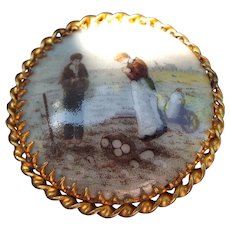 Vintage French Limoges Hand Painted Scenic Brooch, Trombone Clasp