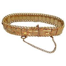 Vintage Golden Bracelet, Hidden Clasp & Safety, Bright Gold Finish