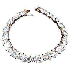 Gold Vermeil Tennis Bracelet, Brilliant Cubic Zirconia Stones, Double Safety Clasp