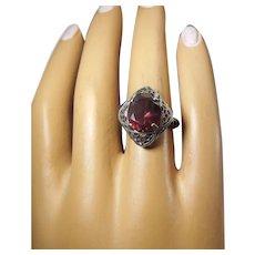 Antique Sterling Filigree Ring, Garnet Color Stone, Size 5