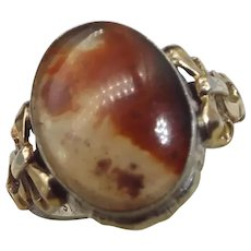 Clark & Coombs Victorian Revival Banded Agate Ring, Sterling and 10k Yellow Gold