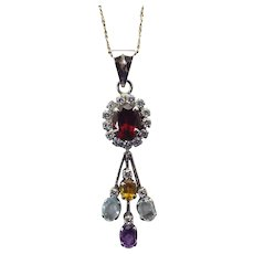 Mixed Gemstone Pendant Necklace, 24 Inch Sterling Chain Included