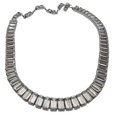 1940s Brilliant Baguette Rhinestone Collar Necklace, Choker 16 Inches