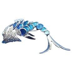 Sterling Silver & Enamel Fancy Fish Brooch, Trombone Clasp