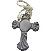 Victorian Bakelite Carved Cross Pendant Necklace 1900s