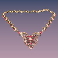 1952 Hollycraft Corp. Red Rhinestone Necklace, Excellent!