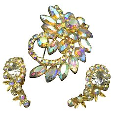 Vintage Aurora Borealis Rhinestone Set, 1950s Brooch Earrings!