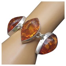 1960s Baltic Amber Sterling Bracelet Large Open Back Stations Highest Quality Amber!