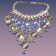 Artist Crafted Retro Bib Necklace, Swarovski Crystals, Art Deco Revival, Book Chain Etched With Flowers!