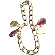 Vintage Gold Vermeil Valentine Bracelet With Charms, Sweet!