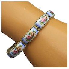 Vintage Rostov Russian Enamel Jewelry Bracelet, Lovely Floral Design!