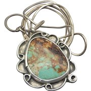 Navajo Native American Crafted Sterling Pendant Turquoise Gemstone Lots Of Iron Matrix, Crossed Arrow Mark!