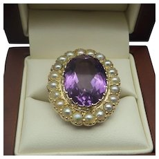 Antique European 9ct. Amethyst and Seed Pearl Ring US Size 9, UK Size S