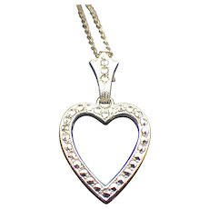 Vintage 1940s Sterling, Rhodium, Marcasite Heart Pendant Necklace Excellent Condition!