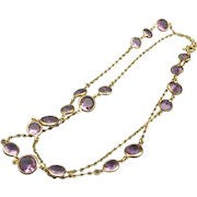 Vintage Alexandrite Crystal Long Necklace, Thirty Six Inches Long, Fully Faceted Top and Bottom!