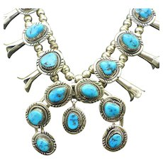Vintage Navajo Native American Squash Blossom Necklace and Earrings, Natural Morenci Turquoise Gemstone Nuggets, 1950s!