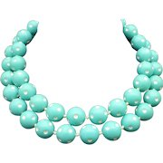 Vintage 1960s Turquoise and White Plastic Knotted Necklace, Double Strand, 16mm Beads, Mad Men!