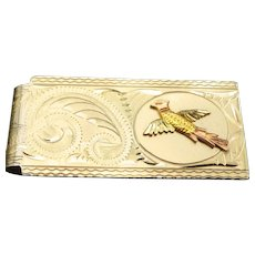 Vintage Black Hills Gold Accented Men's Money Clip, Beautifully Etched Design, Tri-Color Gold Pheasant!