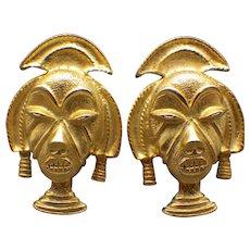 Vintage Funky Fun Tribal Design Earrings, Goldtone!