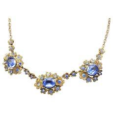 Vintage Victorian Revival Sapphire Blue Station Necklace, Floral Motif 1940s