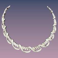 Vintage Crown Trifari Designer Signed Fancy Rhinestone Choker Necklace 1940s