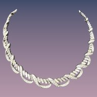 Vintage Trifari Designer Signed Fancy Rhinestone Choker Necklace 1940s