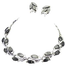 Vintage 1960s Thermoset Plastic Choker Necklace and Earrings, Silver-Tone Setting, Lightweight and Fun to Wear!