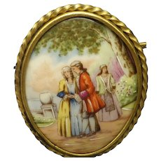 Antique LIMOGES Larger Pictorial Brooch, Continental Scene, Made In France!
