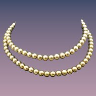 Vintage Italian Gold Vermeil Beaded Necklace, Gold Over Sterling Silver