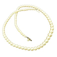 Vintage Cultured Japanese Pearl Necklace, Graduated, 14K White Gold Filigree Clasp!