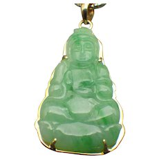 Vintage Asian 18k Yellow Gold Genuine Jadeite Buddha Pendant Necklace 14k Closed Rope Chain! - Red Tag Sale Item