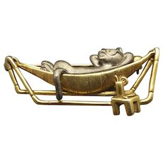 Vintage Danecraft Figural Brooch, Cat In A Hammock, 1960s