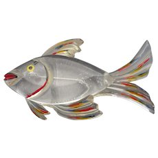 Vintage Early Plastic, Lucite Hand Painted FISH Brooch