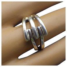 Vintage Sterling Modernist Ring, Unisex Style Size 7 US!