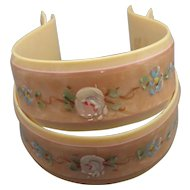 Antique Celluloid Hand Painted Baby Blanket Clamps!
