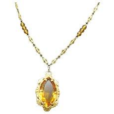 Vintage Czech Citrine Glass Necklace, Fancy Filigree Chain, 1920s!