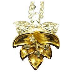 Vintage Sterling, Gold Vermeil Orchid Pendant Necklace, Retro