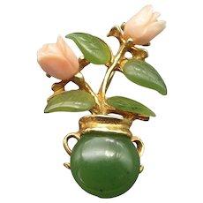 Vintage Signed Swoboda Inc. Jade and Coral Flower Pot Brooch!