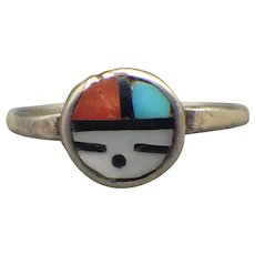 Vintage Petite Sun Face Ring, Sterling Silver, Turquoise, Coral!