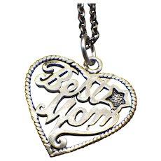 Vintage Sterling Heart Pendant Necklace, Best Mom!