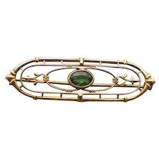 Antique Edwardian Demantoid Garnet Gemstone Brooch, 10k Gold!