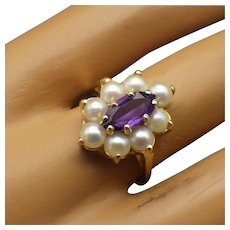 Vintage 1960s Cultured Pearl and Amethyst Ring, 14k Setting!