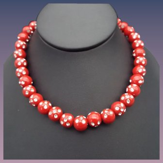 Bright Red Vintage Plastic Bead Necklace, Rhinestone Studded, 10mm Size!