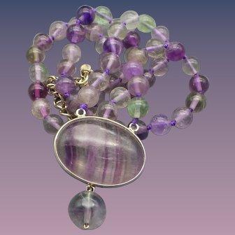 Vintage Fluorite Gemstone Necklace, Sterling Silver Findings
