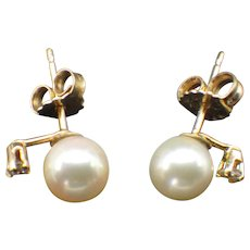 14k Yellow Gold, Diamond and Japanese Cultured Pearl Stud Earrings!