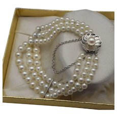 Vintage 14k White Gold, Japanese Cultured Pearl Three Strand Bracelet with Safety!