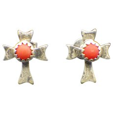Vintage Zuni, Native American Artist Crafted Post Earrings, Sterling, Coral!